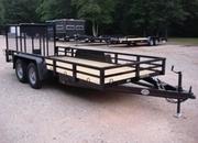 6.5ft X 16ft Landscape & Equipment Trailer, 3.5 Ton w/Tubing Rails, Posts and Beavertail.