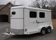 6ft X 14ft Fully Enclosed 2 Horse Slant w/Larger Dressing Room! New!