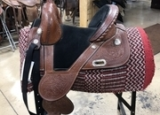 Used Circle Y Tammy Fischer Treeless Barrel Saddle (13.5